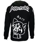 Aggretsuko Aggretsuko Sleeve Faces Hoodie Vest met Rits en Capuchon Zwart / Wit