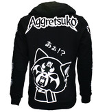 Aggretsuko Aggretsuko Sleeve Faces Zipper Hoodie Jacket Black / White