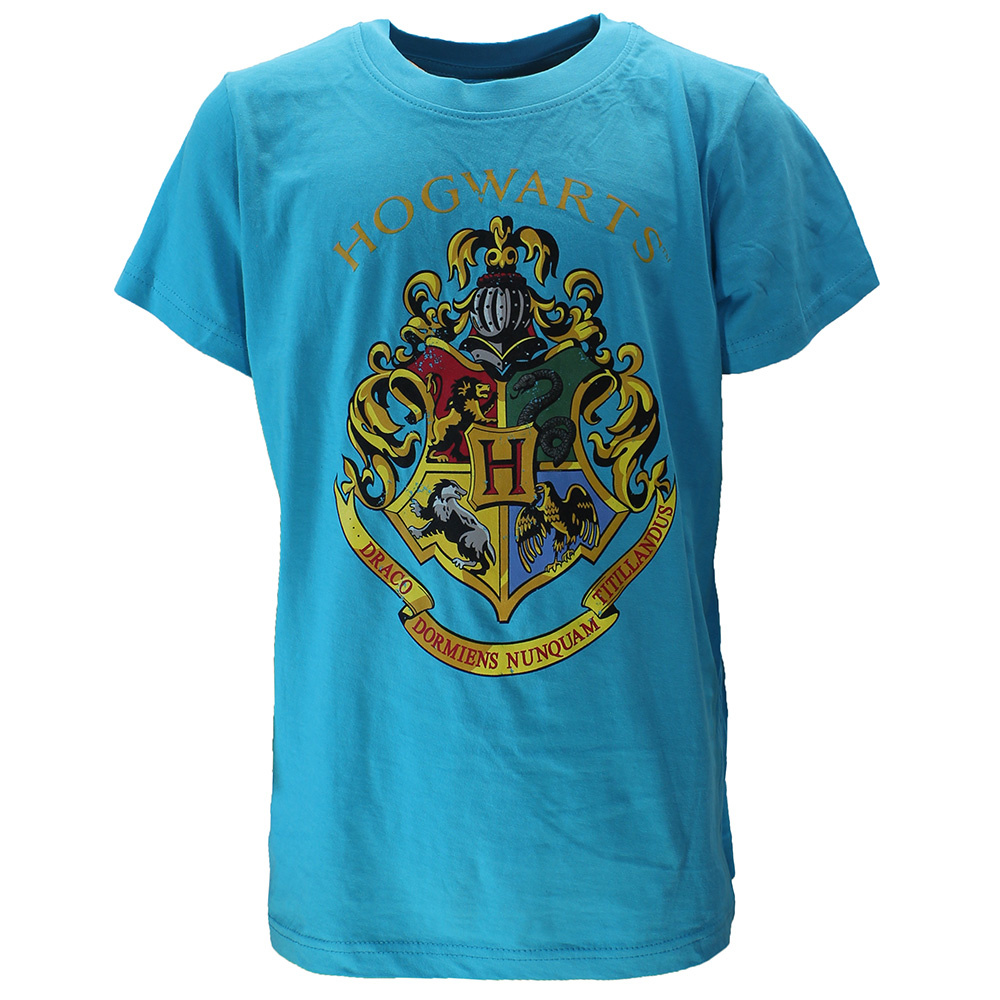 Harry Potter Harry Potter Hogwarts Emblem Kids T-Shirt Light Blue
