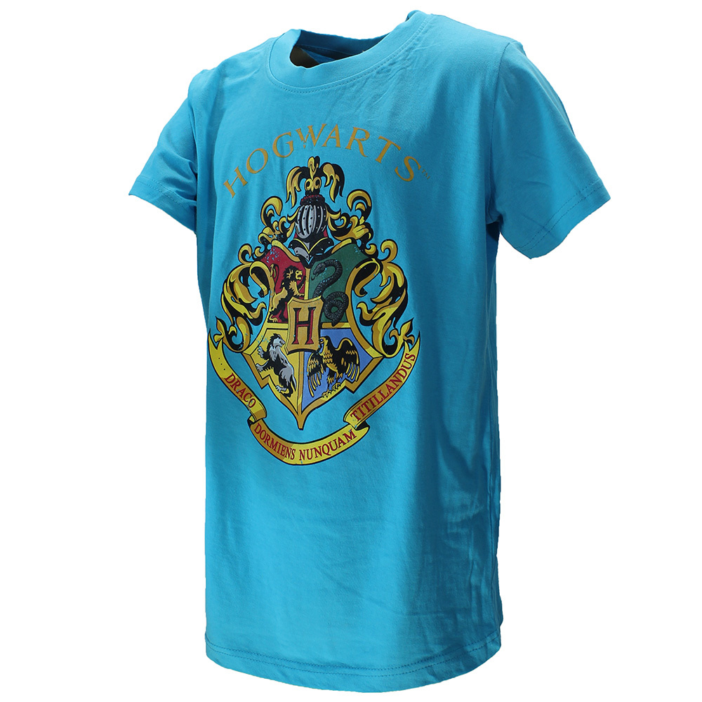 Harry Potter Harry Potter Hogwarts Embleem Kinder T-Shirt Licht Blauw