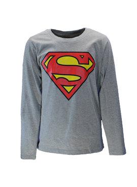 Superman DC Comics Superman Logo Kids Longsleeve Shirt Grey