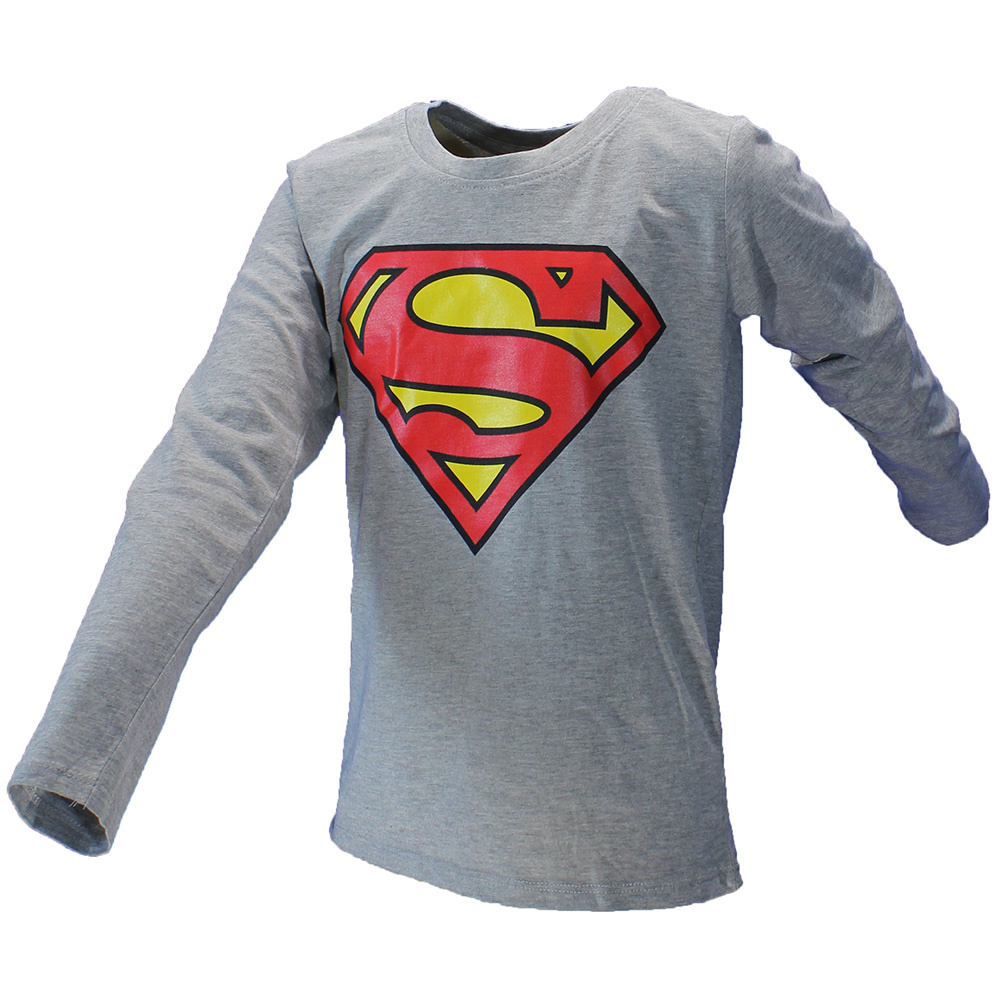 DC Comics: Superman, Batman, The Joker & The Flash DC Comics Superman Logo Kids Longsleeve Shirt Grey