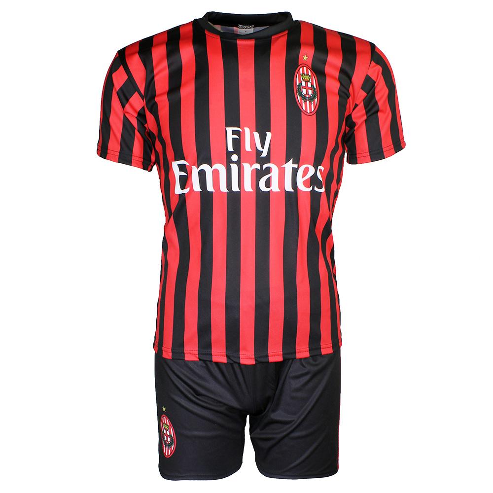Voetbal Kleding / Football Clothing AC Milan Replica Zlatan Ibrahimovic 21 Football Kit Home Jersey T-shirt + Shorts Season 2019 / 2020 Black / Red