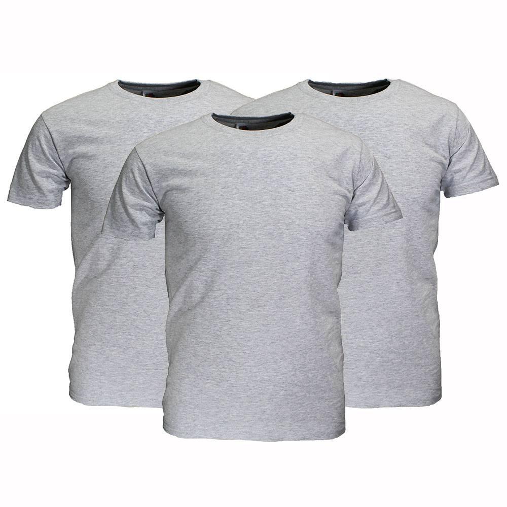 Basics Fruit Of The Loom Plain Basic Cotton T-Shirts 3 Pieces Package mottled grey
