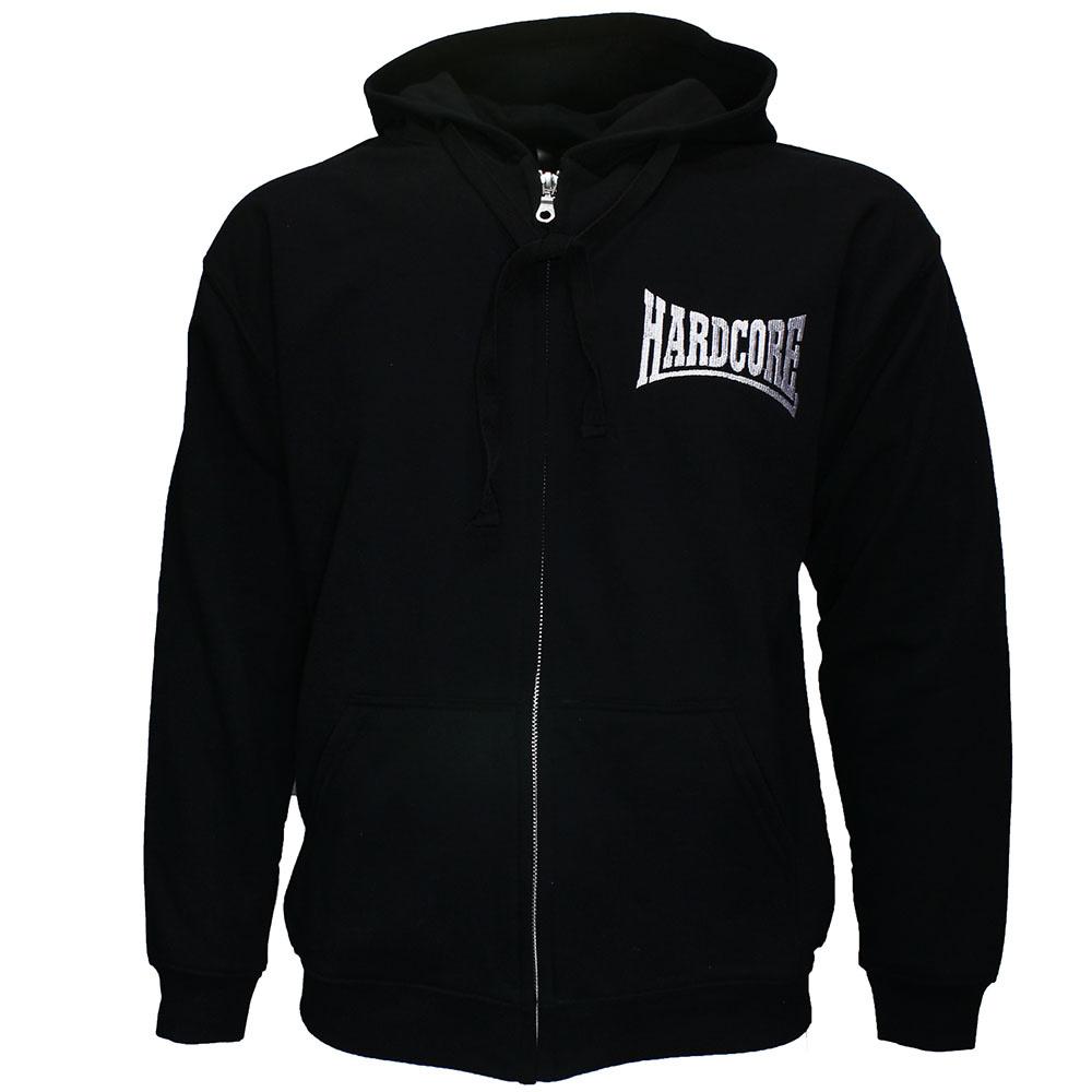Mooie zwarte trui met capuchon. Logo op voorkant en