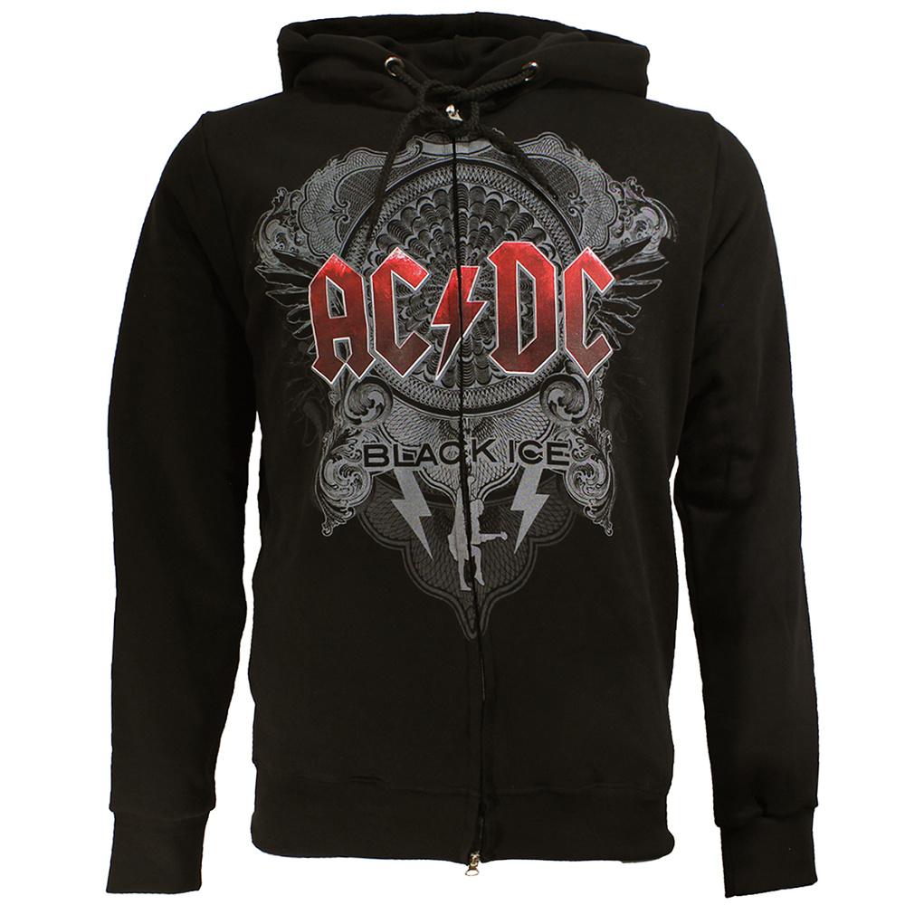 Band Merchandise AC/DC Black Ice Logo Vest met Rits  en Capuchon Zwart
