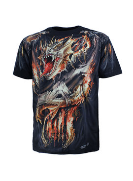 Rock Eagle / Biker T-Shirts Biker Vuurdraak Fire Dragon T-Shirt