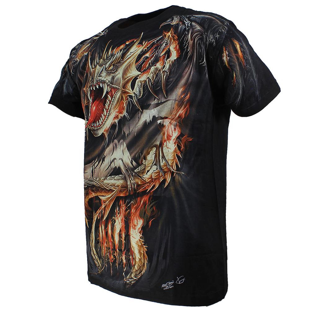 Rock Eagle / Biker T-Shirts Biker Vuurdraak Fire Dragon T-Shirt Zwart