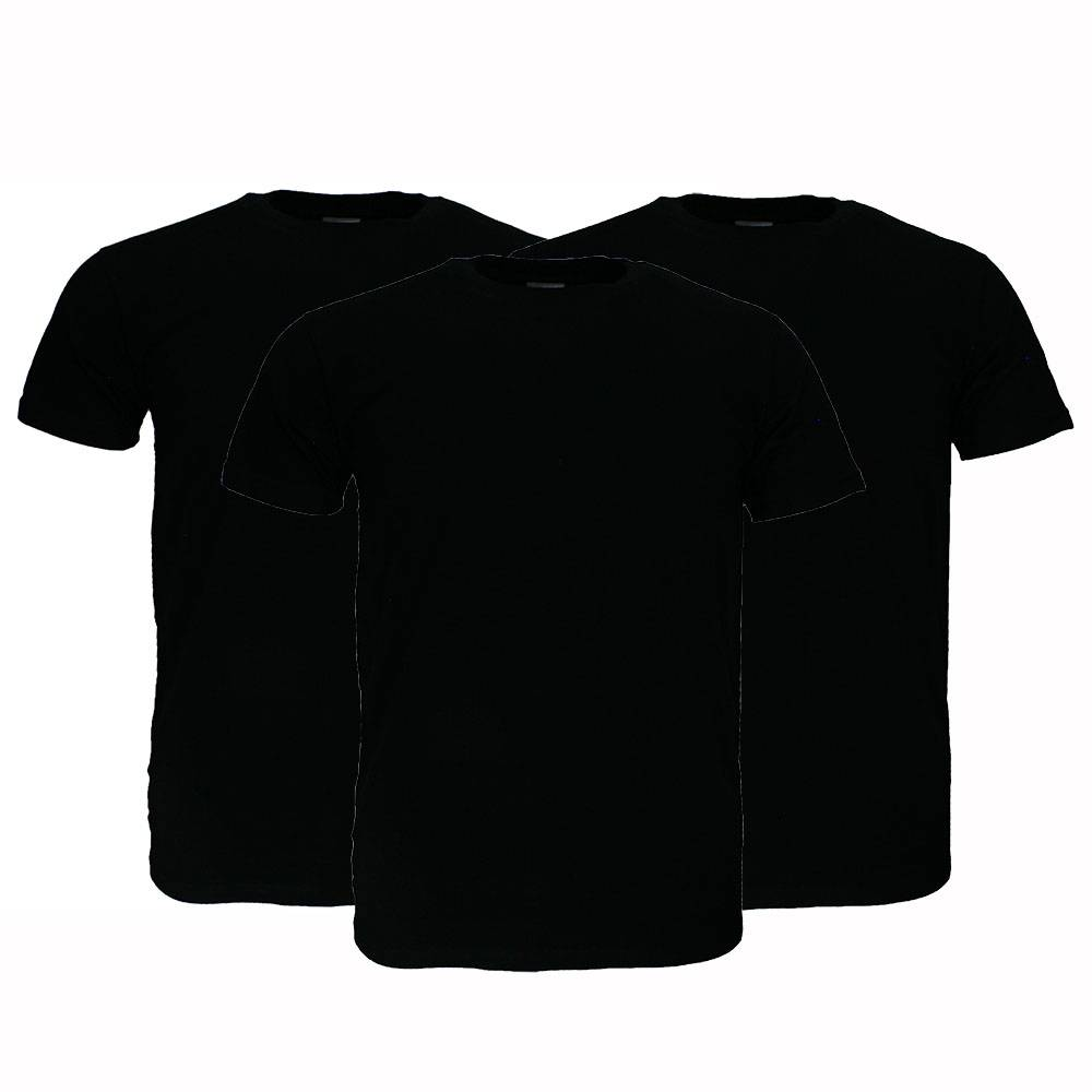 Basics Fruit Of The Loom Plain Basic Cotton T-Shirts 3 Pieces Package Black