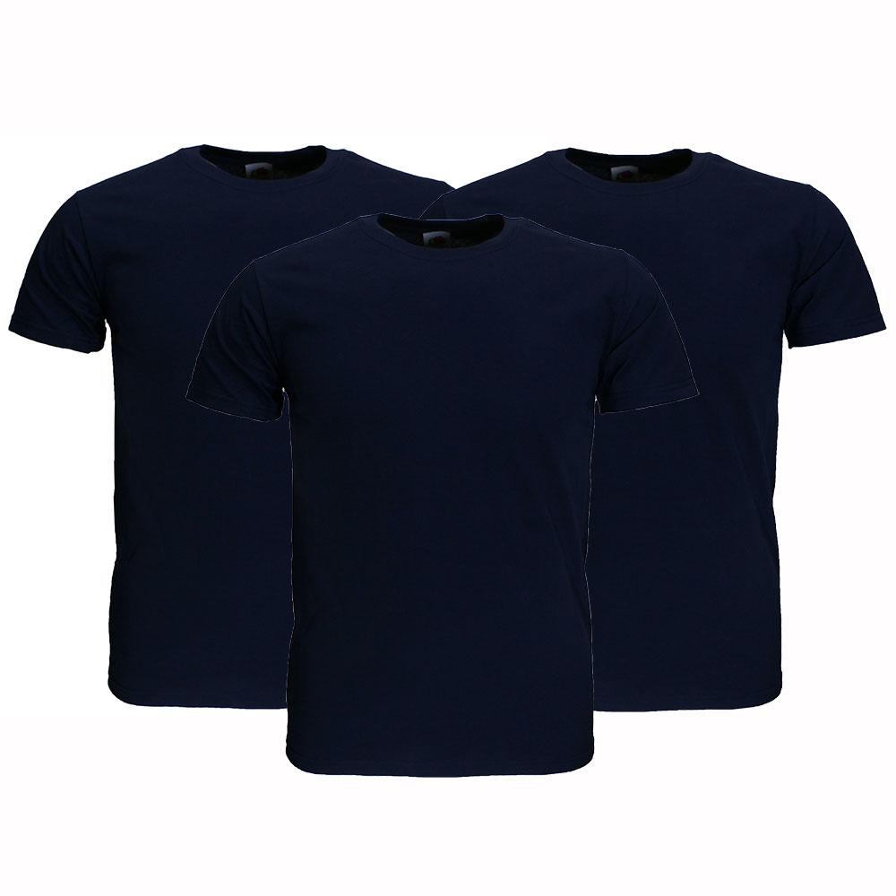 Basics Fruit Of The Loom  Blanco Katoenen T-Shirts 3 stuks pakket Donker Blauw