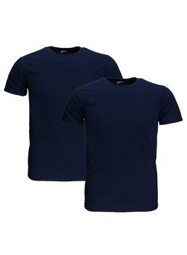 Basics Fruit Of The Loom EXTRA GROTE MATEN Blanco Katoenen T-Shirts 2 stuks pakket Donker Blauw