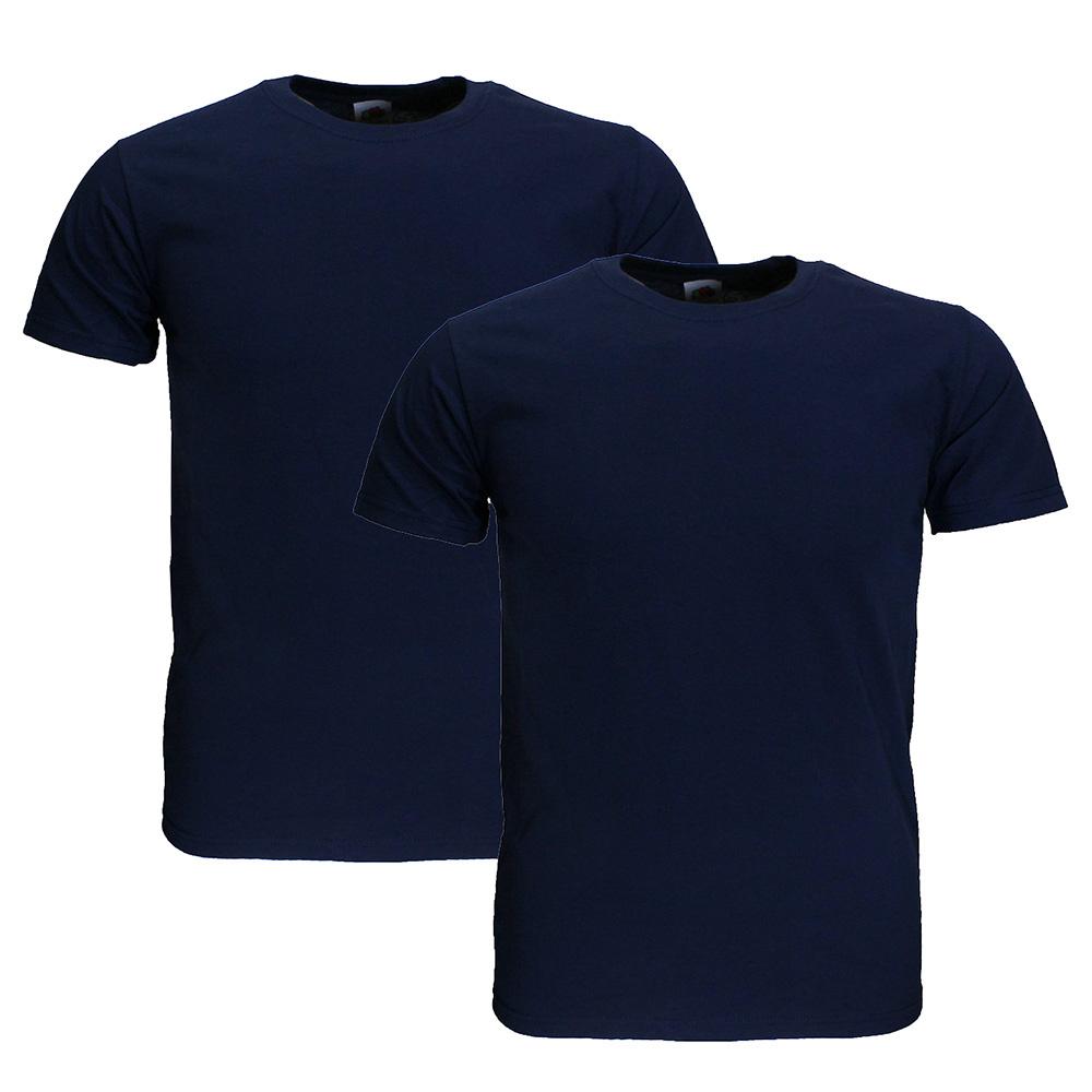 Basics Fruit Of The Loom  Blanco Katoenen T-Shirts 2 stuks pakket Donker Blauw EXTRA GROOT