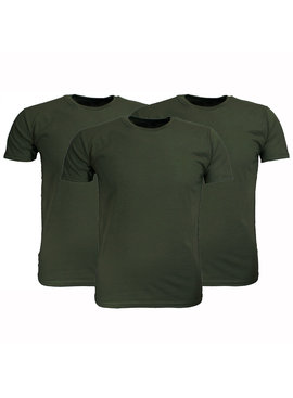 Basics Fruit Of The Loom Plain Basic Cotton T-Shirts 3 Pieces Package Olive Green