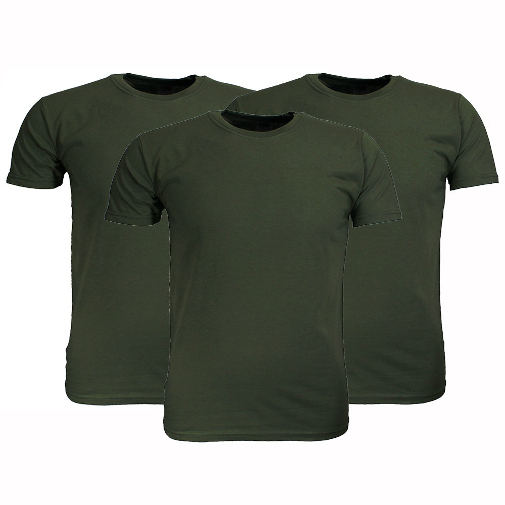 Basics Fruit Of The Loom  Blanco Katoenen T-Shirts 3 stuks pakket Olijf Groen