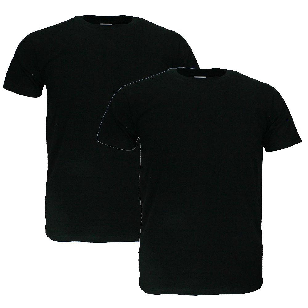 Basics Fruit Of The Loom  Blanco Katoenen T-Shirts 2 stuks pakket Zwart EXTRA GROOT