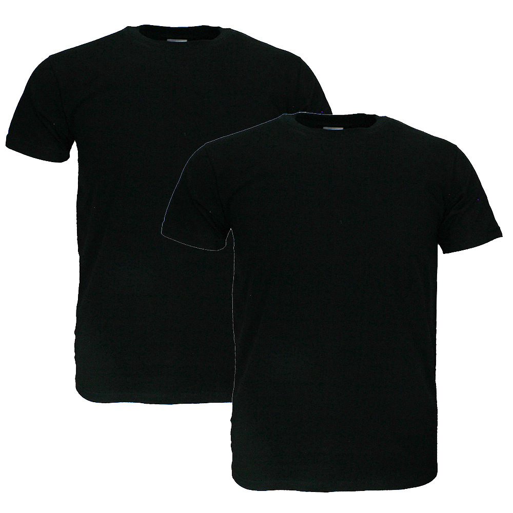 Basics Fruit Of The Loom EXTRA BIG SIZE Plain Basic Cotton T-Shirts 2 Pieces Package Black