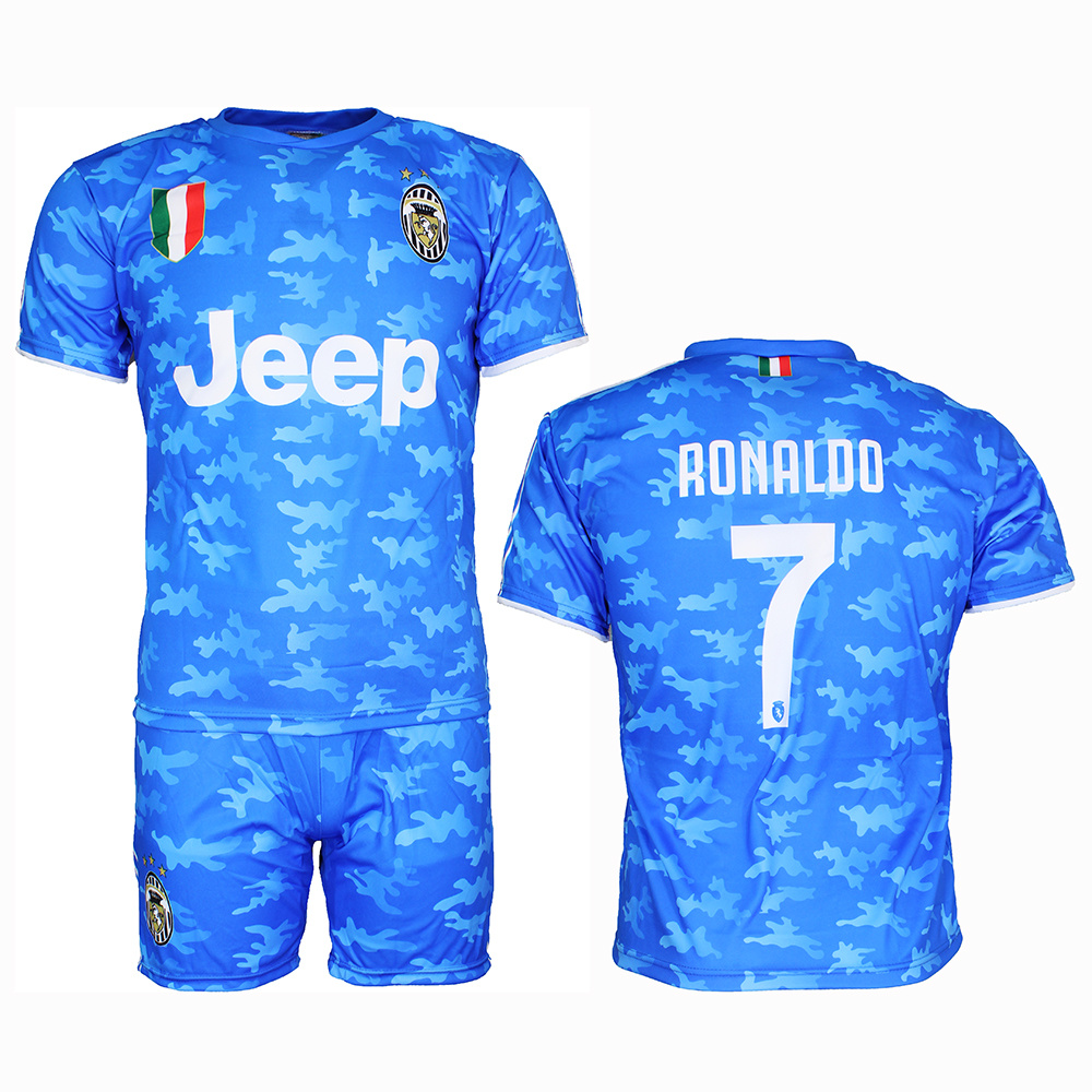 Juventus Replica Cristiano Ronaldo Cr7 Alternative 3rd Kit Football T Shirt Shorts Set Blue Popmerch Com