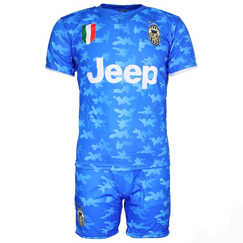 Voetbal Kleding / Football Clothing Juventus Replica Cristiano Ronaldo CR7 Alternatief 3e Tenue Camouflage Voetbal T-Shirt + Broek Set Blauw