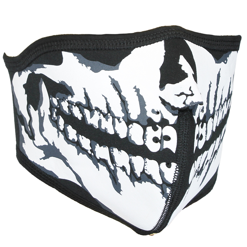 Facemasks Biker Mondkap Facemask Skimasker Skull Print met Filter Zwart / Wit