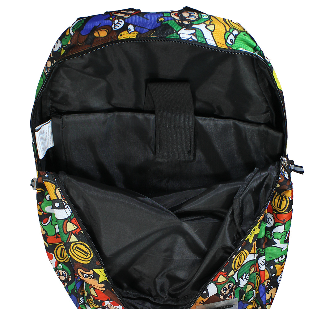 Super Mario Bros Nintendo Super Mario Bros Characters All Over Print Backpack Multicolor