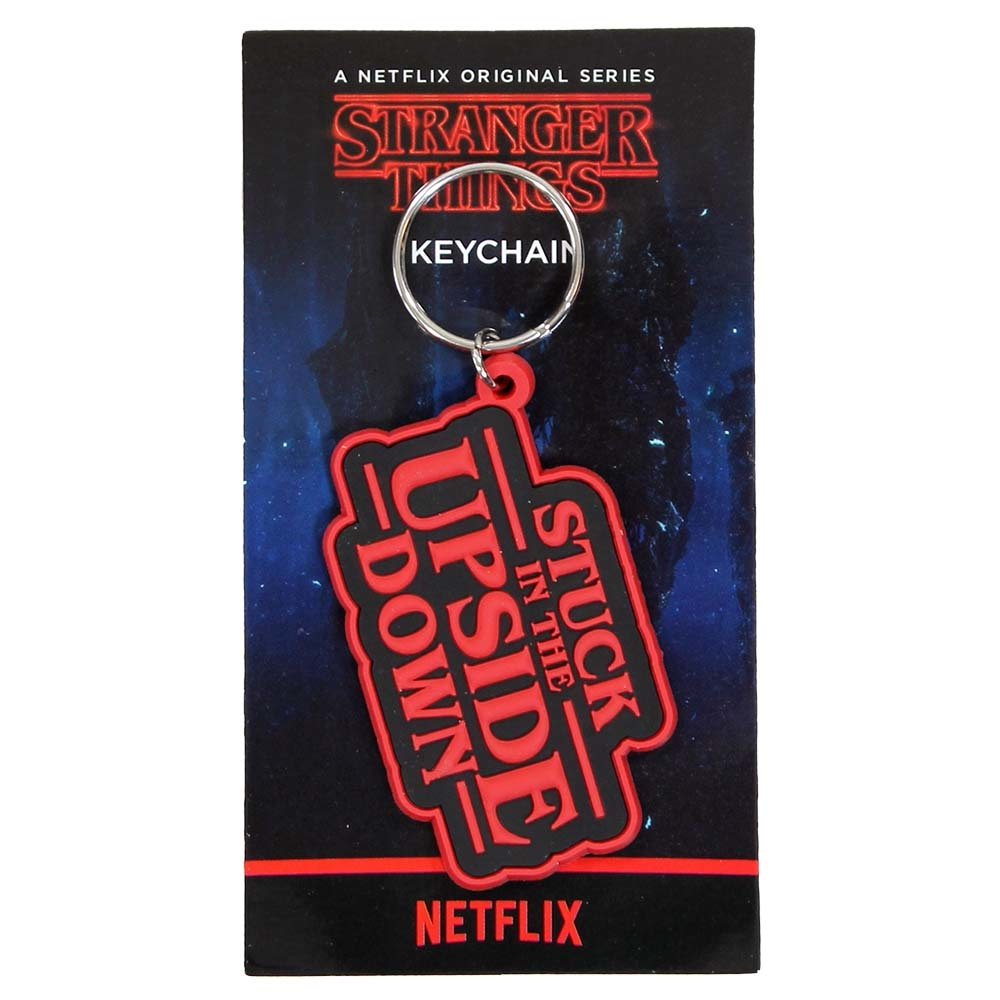 Stranger Things Netflix Stranger Things Stuck In The Upside Down Rubber Keychain Red / Black