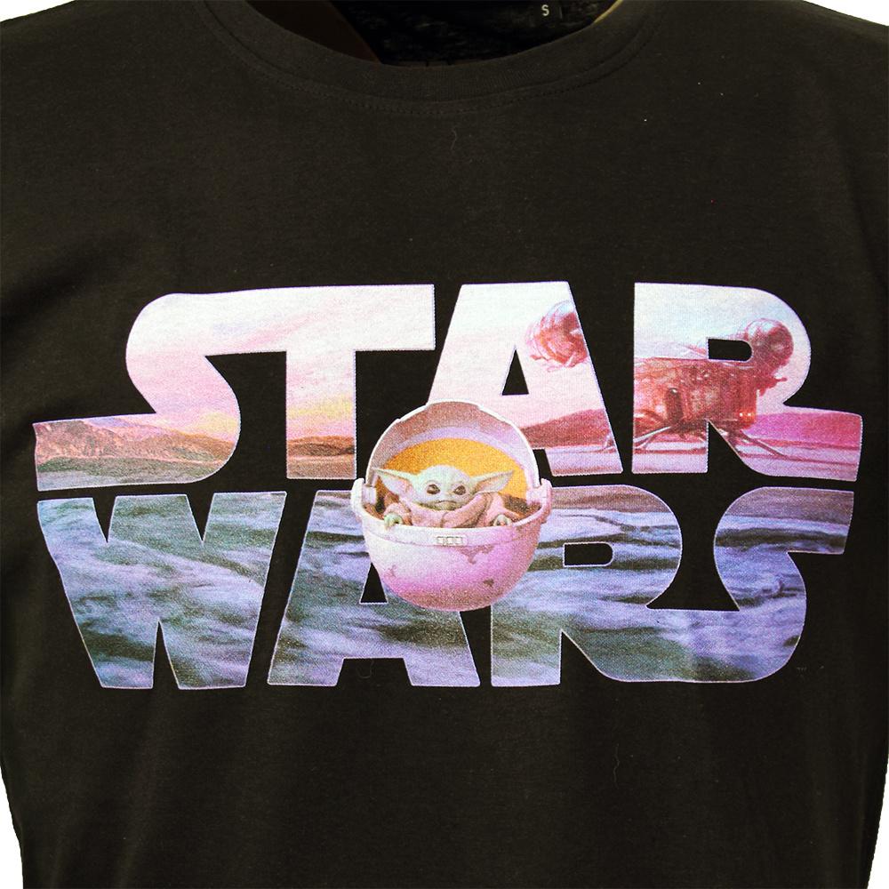 Star Wars Star Wars Baby Yoda Logo T-Shirt Zwart