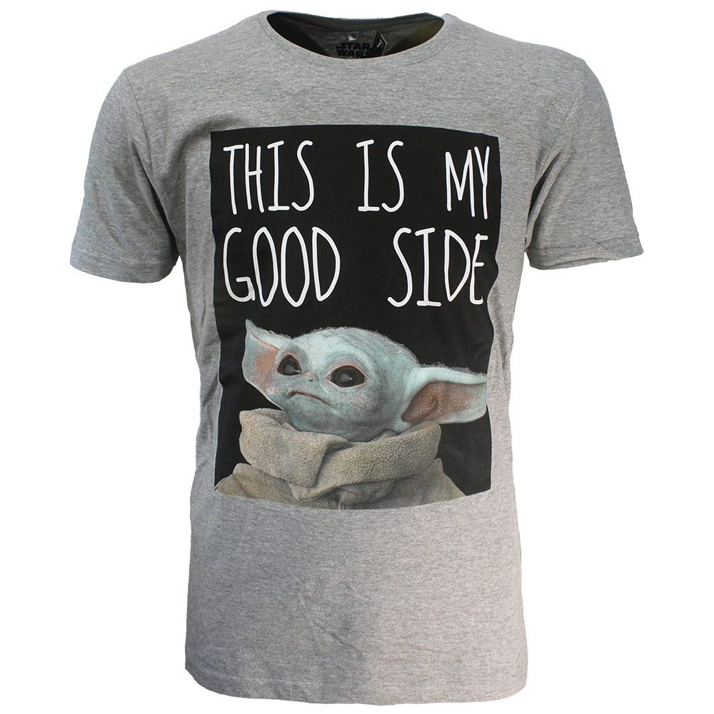 Star Wars Star Wars The Mandalorian Yoda The Child This Is My Good Side T-Shirt Grijs
