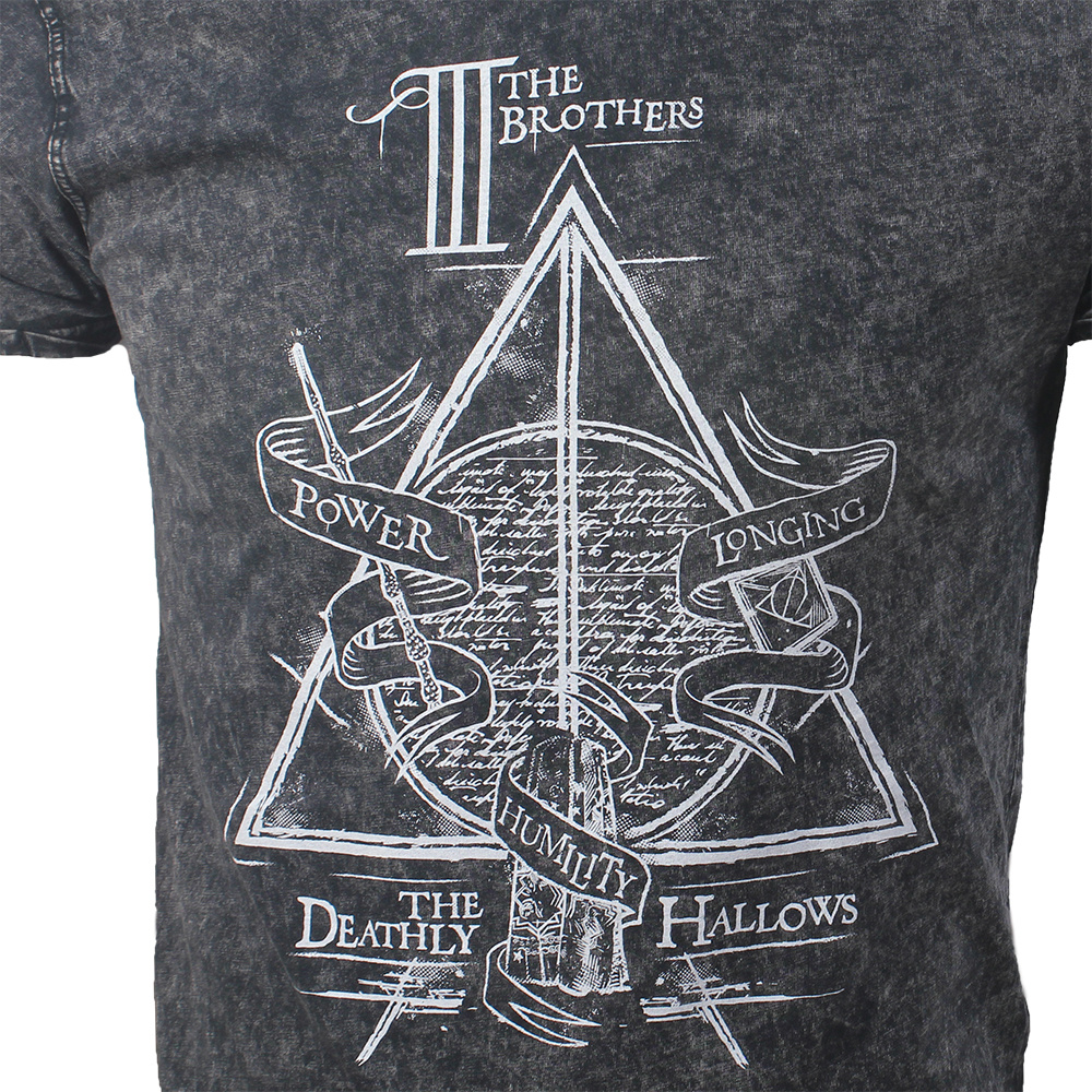 Harry Potter Harry Potter Deathly Hallows T-Shirt Stonewashed Grijs