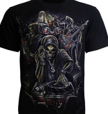 Rock Eagle / Biker T-Shirts Biker T-Shirt Skull Reaper Live Band Glow in the Dark Zwart
