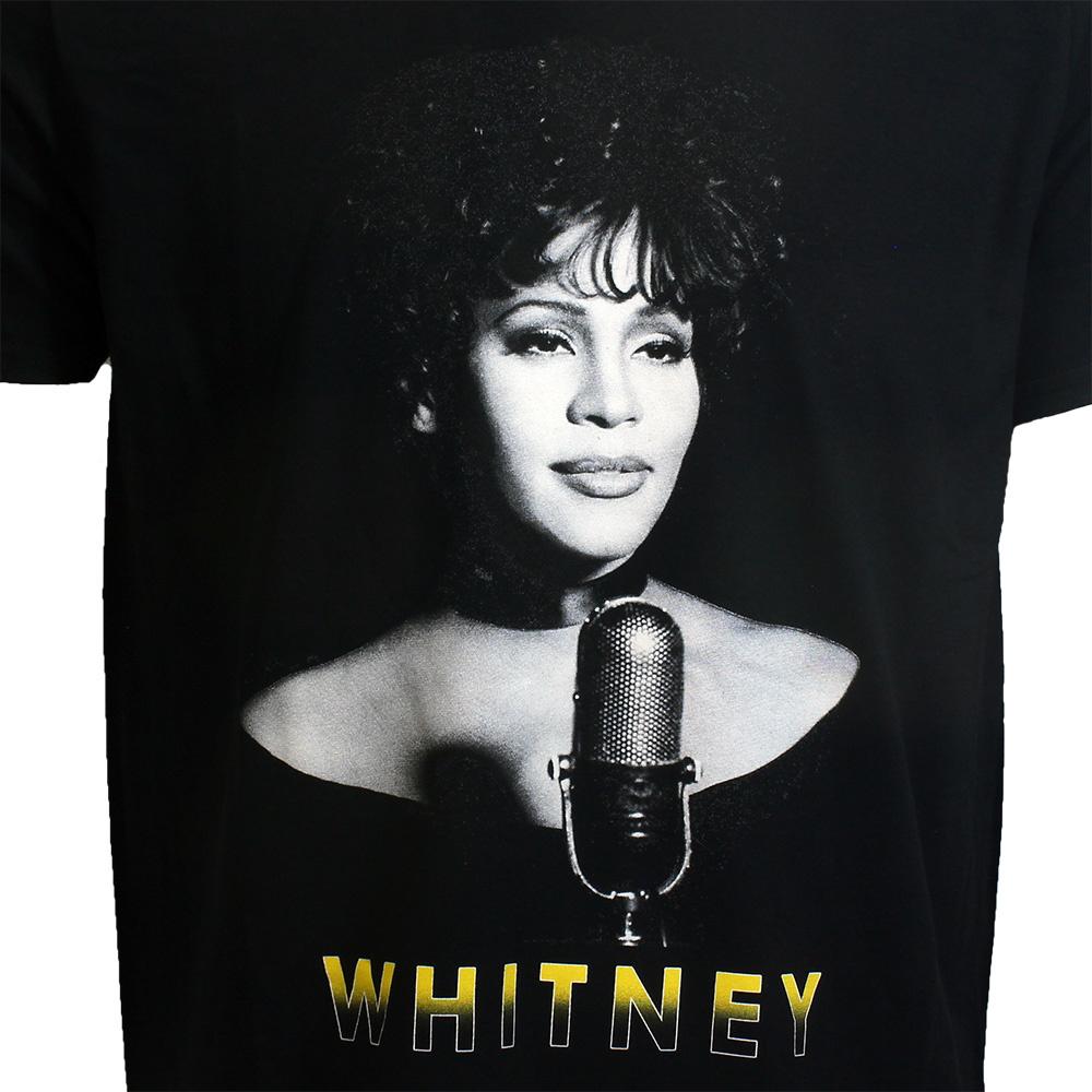 Band Merchandise Whitney Houston Black & White Photo T-Shirt Zwart