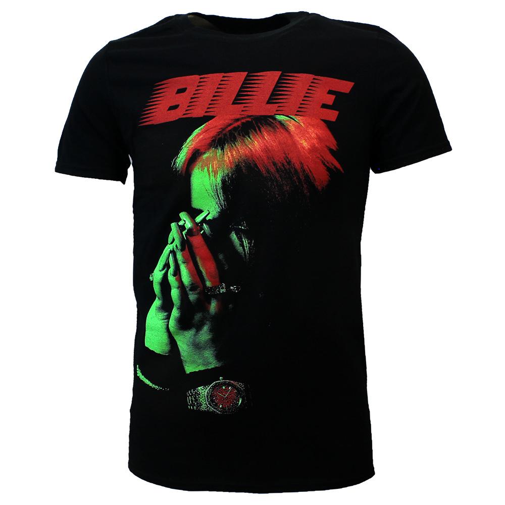 Band Merchandise Billie Eilish Hands Face T-Shirt Black