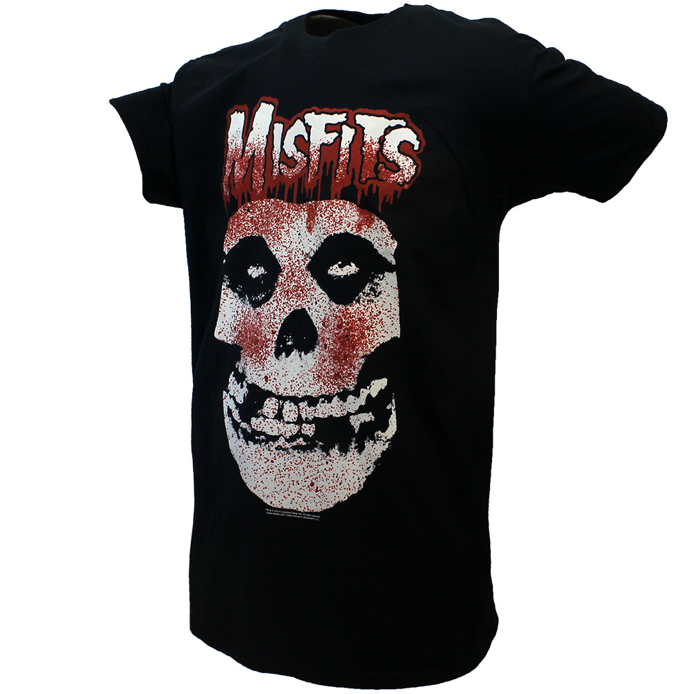 Band Merchandise Misfits Blood Dripping Skull T-Shirt Black