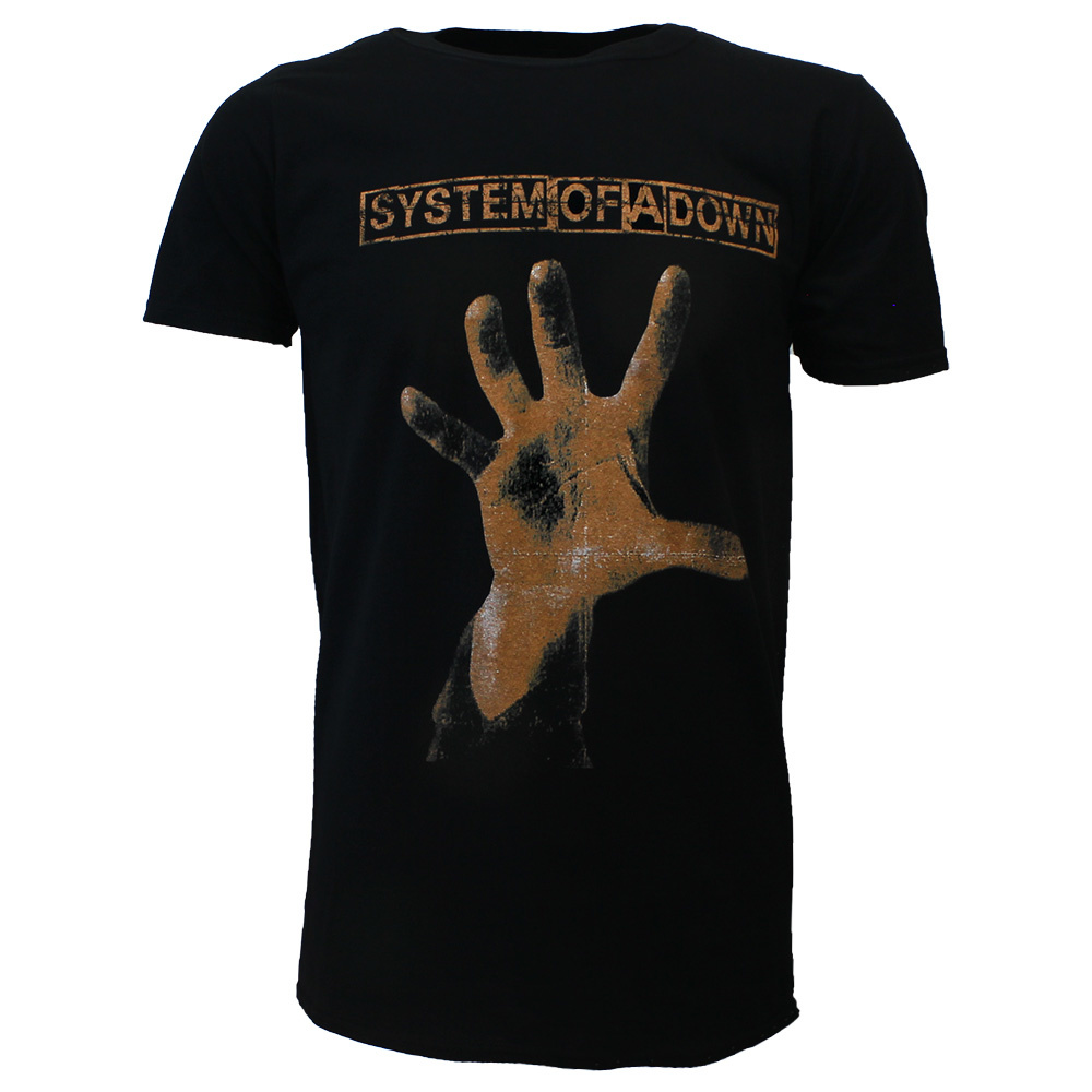 Band Merchandise System Of A Down Hand T-Shirt Black