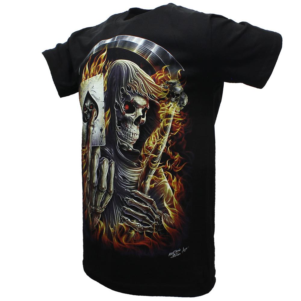 Rock Eagle / Biker T-Shirts Biker T-Shirt Death Reaper Schoppen Aas Glow in the Dark Zwart
