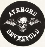 Band Merchandise Avenged Sevenfold  Death Bat Motief Grote Ronde Rug Patch Zwart/Wit- Officiële Merchandise