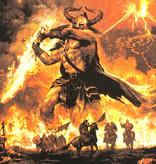 Band Merchandise Amon Amarth Surtur Rising Motief Grote Rugpatch Zwart/Rood - Officiële Merchandise