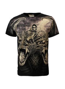 Rock Eagle / Biker T-Shirts Rock Eagle Biker The Serpent Double Headed Dragon T-Shirt Zwart