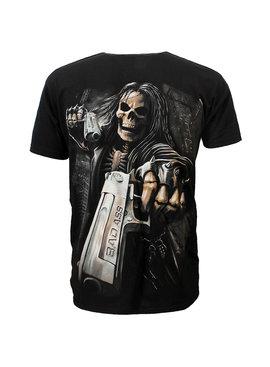 Rock Eagle / Biker T-Shirts Hitman Skeleton Twee Badass Guns T-Shirt Zwart