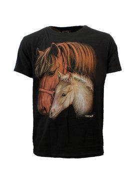 Rock Eagle / Biker T-Shirts Merrie en Veulen Twee Paarden T-Shirt Zwart