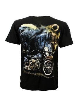 Rock Eagle / Biker T-Shirts Wolf Adelaar en Motor in de Nacht T-Shirt Zwart