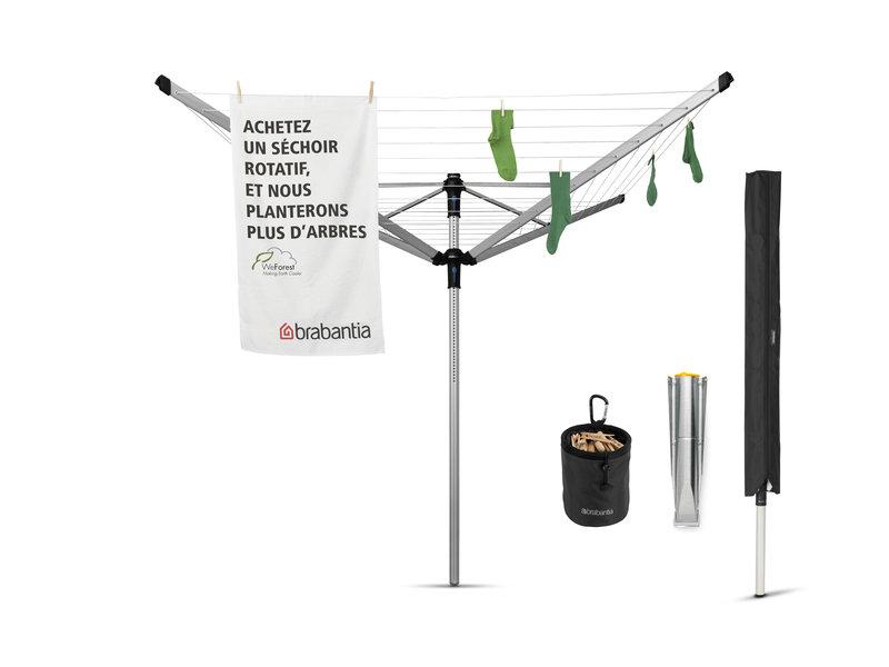 Brabantia Droogmolen Lift O Matic Advance 60 meter met metalen grondanker, Incl. beschermhoes en wasknijpertas