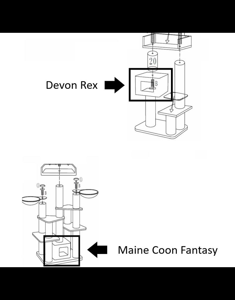 Speelhuisje + Kussen Devon Rex/Maine Coon Fantasy Light Grey