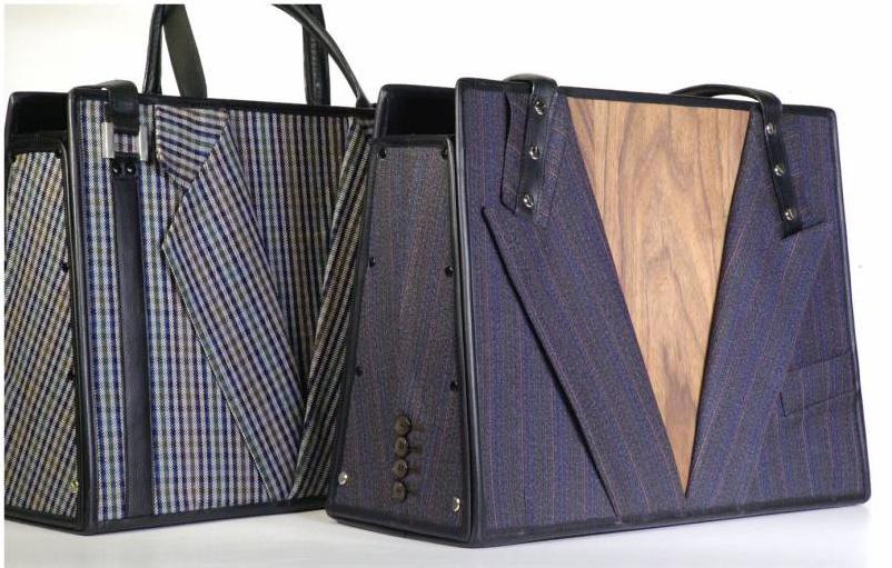 Manichel maakt tas van  kostuum van overleden vader een tas