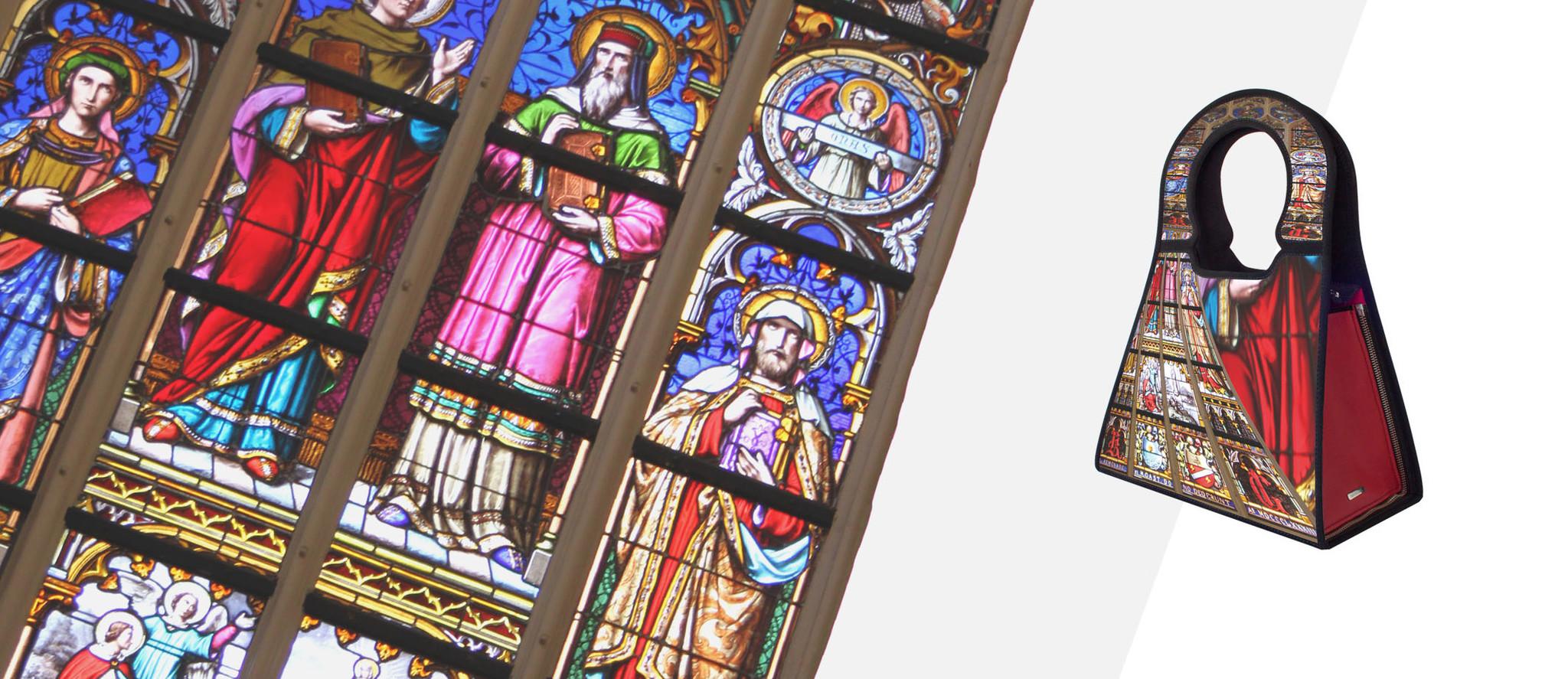 Fotoart van kerk s 'Hertogenboscvh op  Manichel tassen