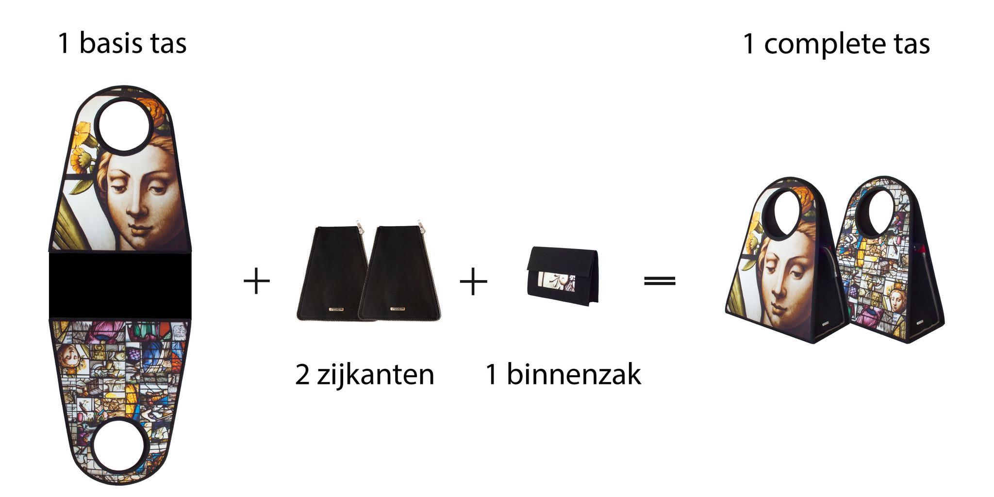 Handgemaakte Manichel tas, stel de tas zelf samen.
