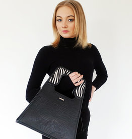 Charlize, black leather/zebra