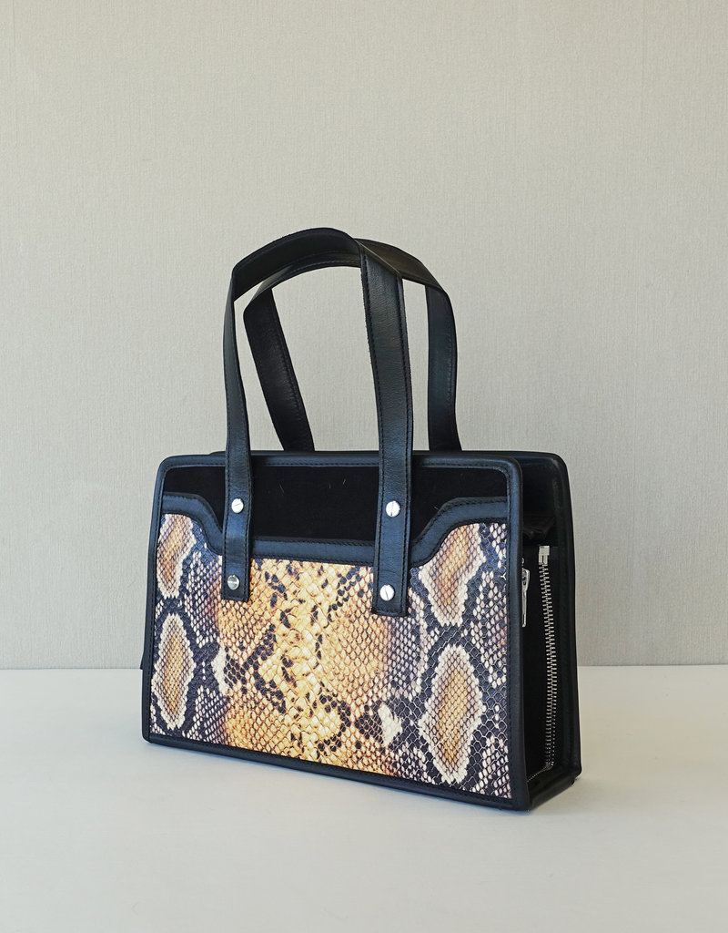 Gigi,  yellow snake print leather