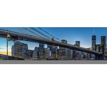 Fotobehang Blaue Stunde in New York City 366 x 127 cm