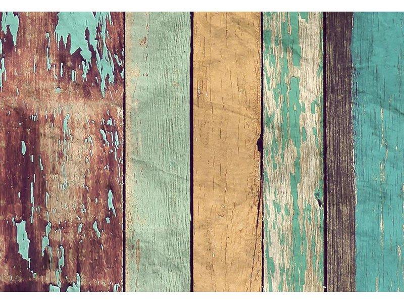 Fotobehang - Farbige Holzwand - 366 x 254 cm - Multi