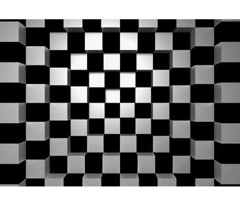 Fotobehang Squares noir + blanc 366x254 cm